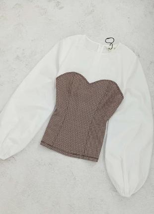 Блуза с имитацией корсета, блуза классическая