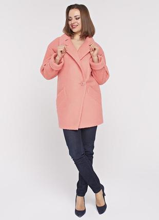 Женское весеннее коралловое короткое пальто - пиджак демисезон из букле