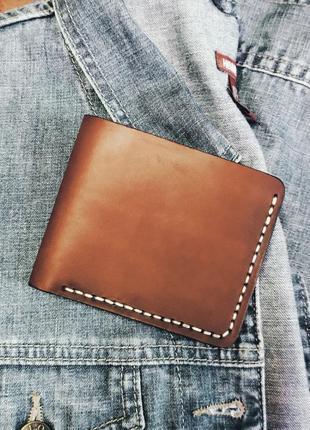 Мужской винтажный кошелек ручной работы из натуральной кожи.