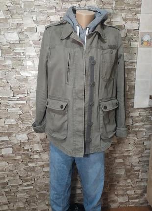 Милитари джинсовка /удлиненная джинсовая куртка