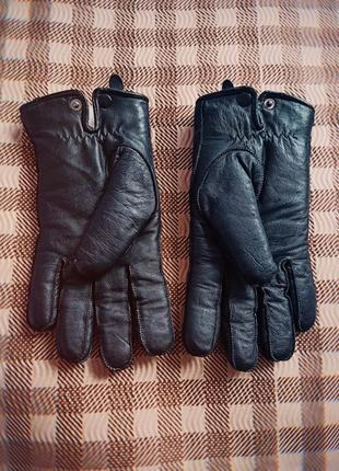 Новые роскошные кожаные перчатки теплые! черные