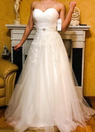 Пышное свадебное платье s, без бретелей греческое с кружевом с бисером лиф а силуэт