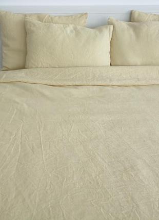 Светло-желтое льняное постельное белье из умягченного льна / полуторный двойной евро