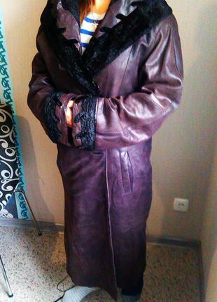 Кожаное демисезонное пальто, италия