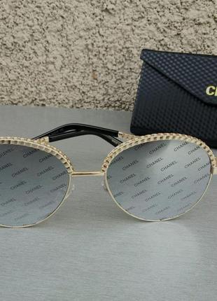 Chanel очки женские солнцезащитные круглые зеркальные с логотипом бренда на линзах