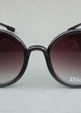 Christian dior очки женские солнцезащитные круглые коричневые