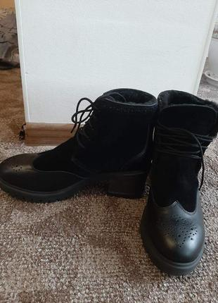 Зимние ботинки, кожа, замш