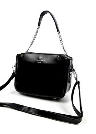Женская кожаная сумка david jones, черная