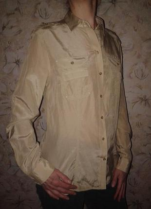 Шелковая блуза-рубашка massimo dutti