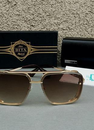 Dita mach six очки женские солнцезащитные коричневые в золотой металлической оправе