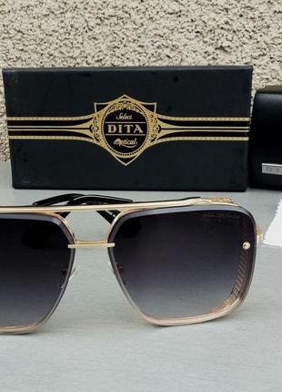 Dita mach six очки женские солнцезащитные серые в золотой металлической оправе
