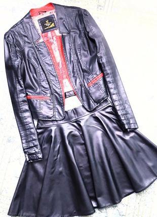 Мега стильный/укороченный/кожаный пиджак/жакет/накидка в стиле готика jump & fish.