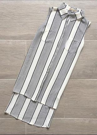 Удлиненная рубашка блузка полосы