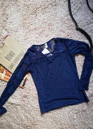 Синяя кофточка / блуза с кружевными рукавами