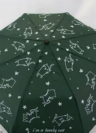Молодежный зонт-полуавтомат с котиками темно-зеленый.