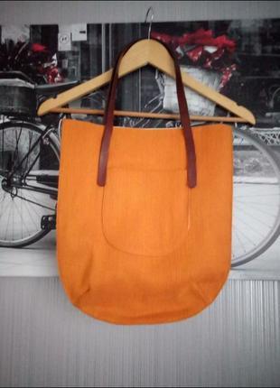 Яркая фирменная сумка шоппер от gap