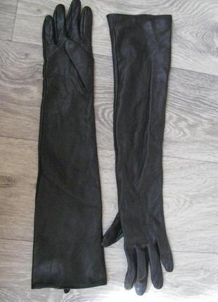 Перчатки кожанные s-m размер женские длинные лайка кожа
