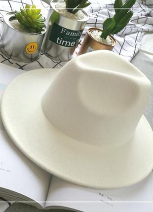 Шляпа фетровая федора унисекс с устойчивыми полями белая