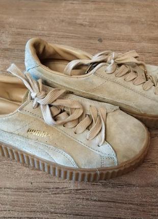 Кроссовки puma rihanna fenty, бежевые кроссовки, стильные женские кроссовки