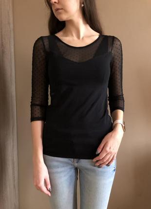 Блуза с актуальной сеточкой в мелкий горох
