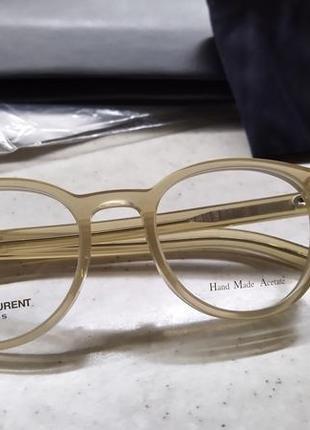 Новая премиум оправа saint laurent очки, made in italy. hand made. прозрачная/нюд лоран