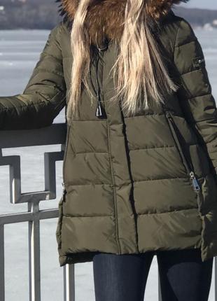 Куртка пуховик натуральный мех