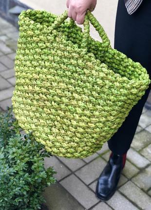 Большая зеленая,соломенная плетённая пляжная сумка-корзина
