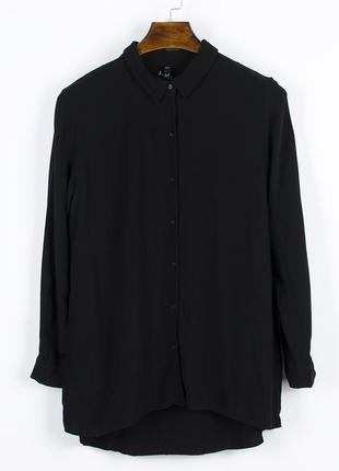 Черная рубашка классическая, весенняя рубашка женская, жіноча сорочка чорна, блузка