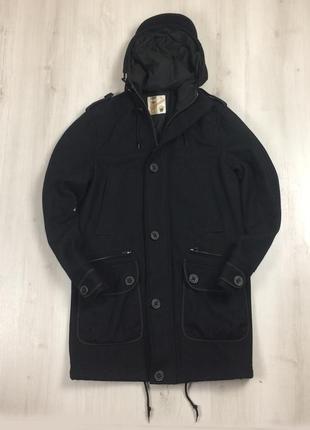 F9 мужское полушерстяное пальто topman темно-синее с капюшоном