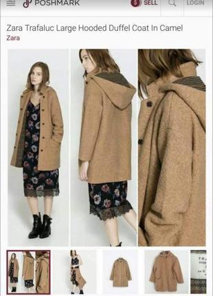 Шерстяне оверсайз пальто zara