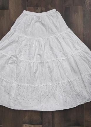 Красивая белая юбка с пайетками minx system. идеал. как новая!