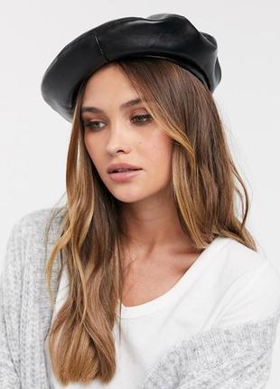 Берет береты шляпа шапка эко кожа кожаный черный качественный новый