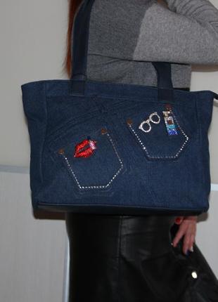 Вместительная, стильная сумка джинсовая