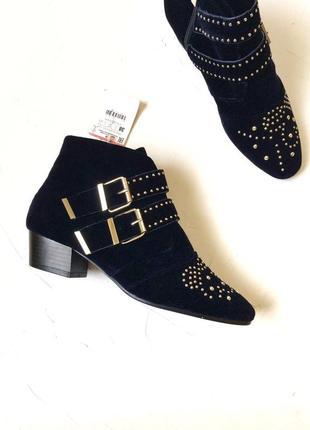 Бархатные ботинки stradivarius, ковбойские сапоги, под chloe susanna, как zara