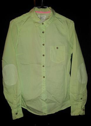 Рубашка фисташковая h&m 36(s)