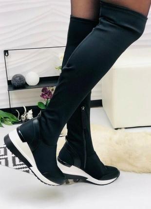 Женские чёрные сапоги спортивные ботфорты р.37 маломерят