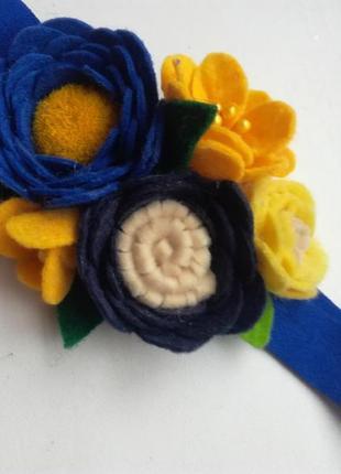 Повязочка, повязка синяя, повязочка синяя для девочки, повязка из фетра, цветочная повязка