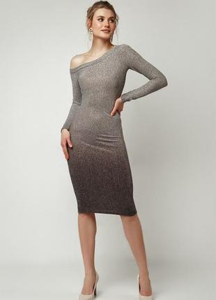 """Платье градиент-фрез на одно плечо """"миди"""" серебро"""