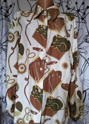 🔥винтажная шелковая рубашка alberto fabiani в стиле hermes 100%шелк