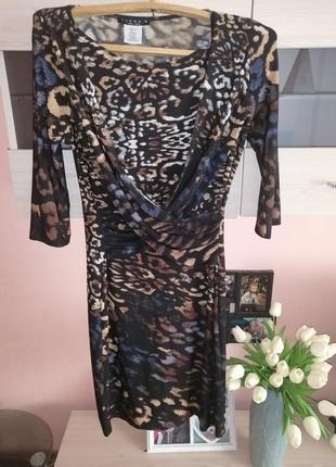 Брендовое тигровое платье миди