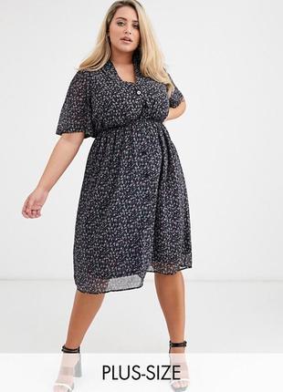 Шифоновое платье рубашка в цветочный принт asos, платье на пуговицах миди батал