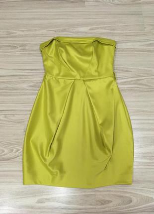 Шикарное платье бюстье  лимонного цвета