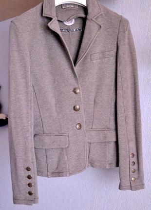 Серый коттоновый удобный повседневный пиджак