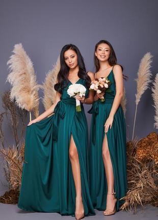 Изумрудное вечернее платье выпускное длинное макси шелковое шлейки