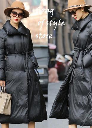 Модное длинное пуховое пальто, пуховик, с декаративным ремнем, в наличии