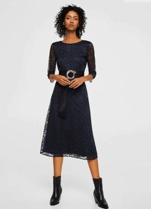 Миди-платье из кружева mango
