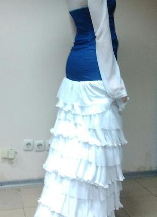 Платье вечернее креативное (джинсовое платье / свадебное платье)
