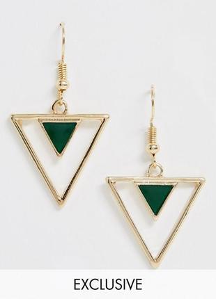 Сережки підвіски трикутник, серьги треугольники, серьги подвески glamorous asos