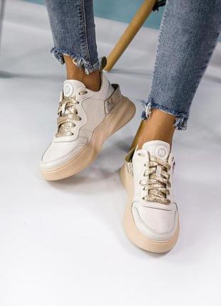 Натуральные кожаные женские стильные кроссовки качество ❤️🔥