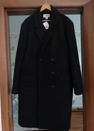 Мужское черное шерстяное классическое пальто h&m 60-62 размер/5xl-6xl